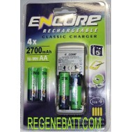 Chargeur Encore + 4x Piles rechargeables AA 2700mAh