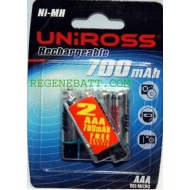 Piles rechargeables UNIROSS AAA 700mAh NiMH Telephone (x6)